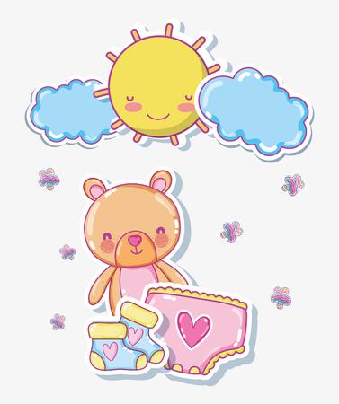 Cute bear on sunny day cartoon
