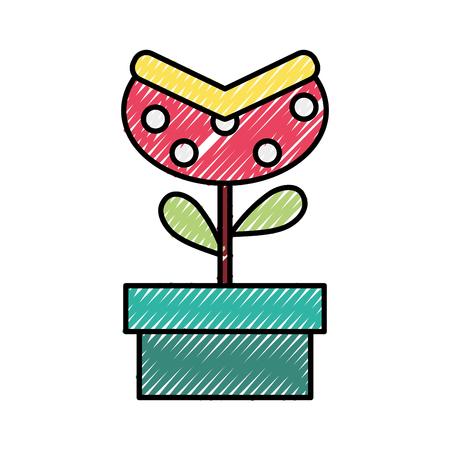doodle videogame bag plant inside tube style Stock Illustratie