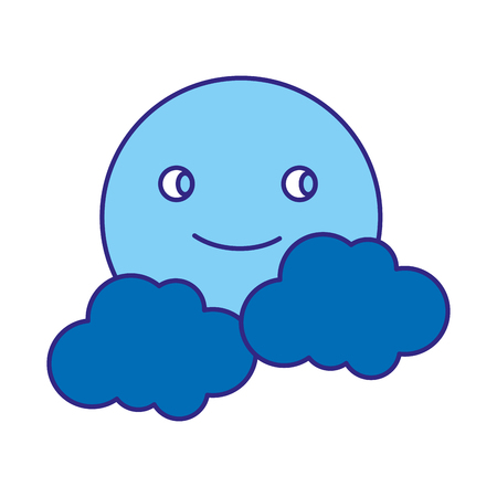 Duo color video game smile sun character with clouds 矢量图像