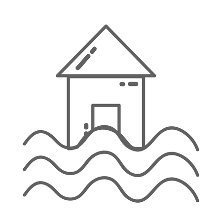 line house with water flood natural demage