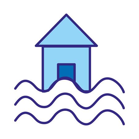 duo color house with water flood natural demage Ilustração