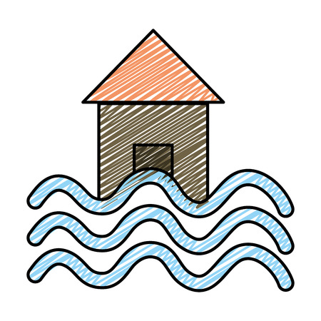 Doodle house with water flood natural demage