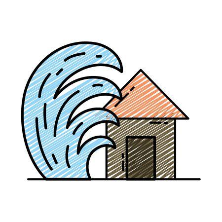 Doodle house seaquake tsunami nature desaster Ilustração