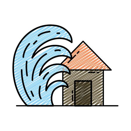 Doodle house seaquake tsunami nature desaster Illustration
