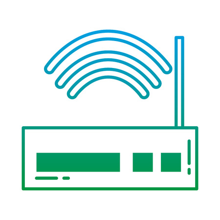 Degraded line router wireless internet wifi technology vector illustration