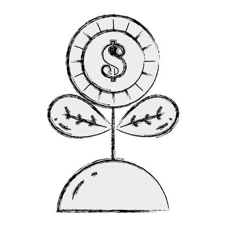 Het geld van de het muntstukbloem van Grunge met bladeren binnen grond Stockfoto - 97509374