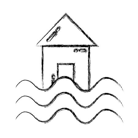 Grunge house with water flood natural demage Ilustração