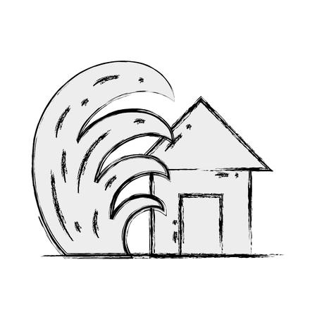 Grunge house seaquake tsunami nature desaster Ilustração