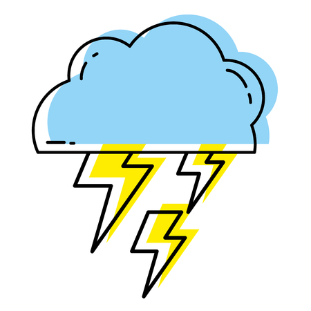 moved color cloud with thunders weather to electry rays Vector Illustration