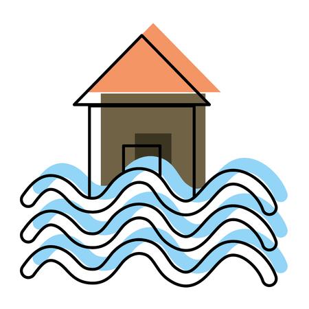 moved color house with water flood natural demage Ilustração