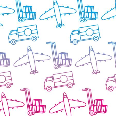 degraded line truck and airplane transport vehicle background