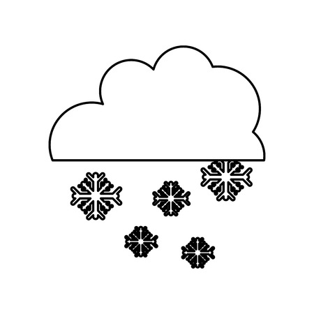 line cloud with snowing cold nature weather vector illustration