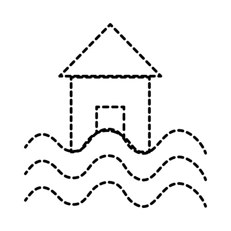 dotted shape house with water flood natural damage Vector illustration.