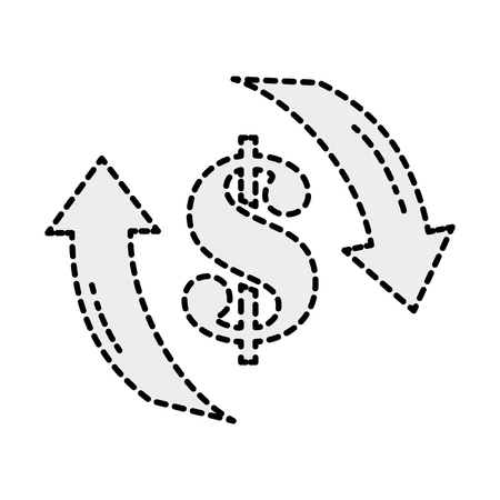 dotted shape money dollar symbol with arrows cycle