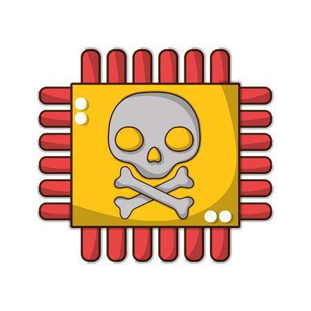 darger skull with bones inside chip circuit