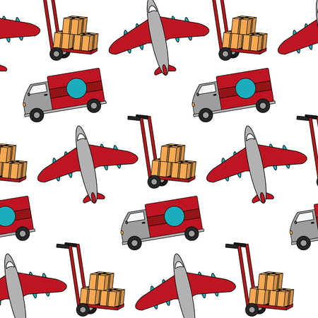 Truck and airplane transport vehicle background. Illustration