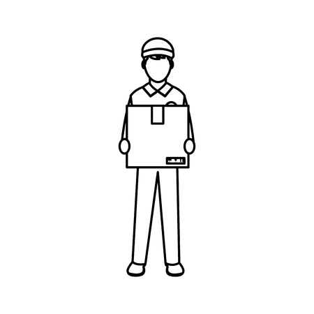 line man delivery courier with box service Vector illustration.