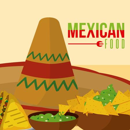 Mexican food menu card vector illustration Illustration