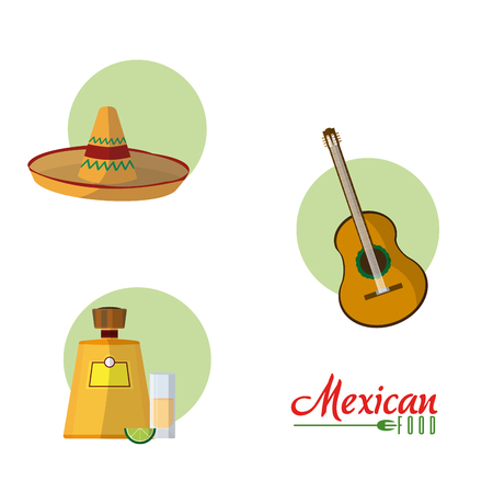 Mexican culture cartoons collection vector illustration  イラスト・ベクター素材