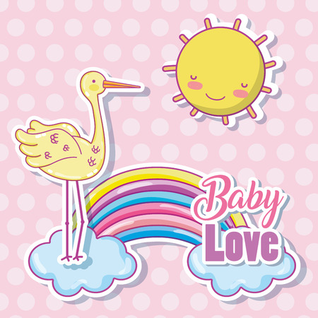 Baby love cartoon with duck and sunshine Illustration
