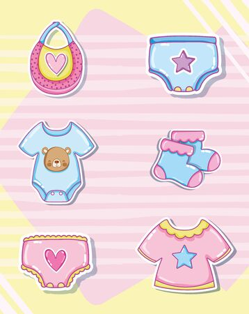 Cute baby cartoons collection with baby attire Ilustração