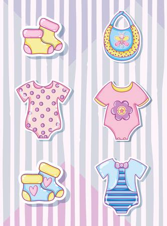 Cute baby cartoons collection with baby clothes Ilustração