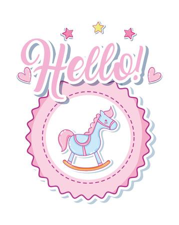 Hello cute baby cartoon with rocking horse