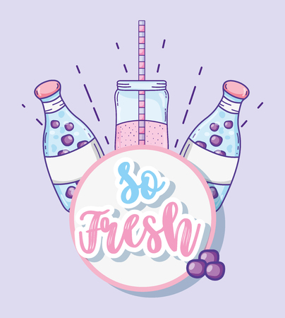So fresh summer juice cartoon vector illustration graphic design