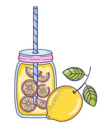 Lemonade juice summer illustration