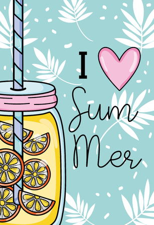 I love summer with leaves and juice drink Stock Illustratie