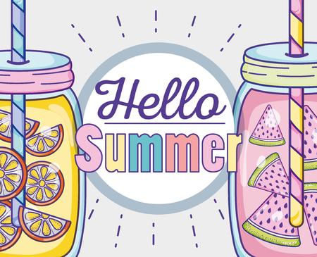Hello summer cartoons vector illustration graphic design