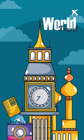 World travel card card over sky background vector illustration