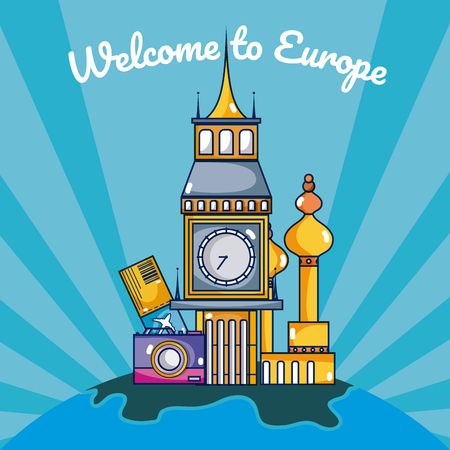 Travel and discover europe vector illustration graphic design Çizim