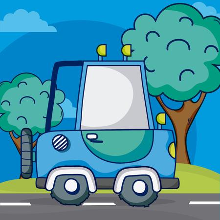 SUV 4x4 truck on street vector illustration graphic design