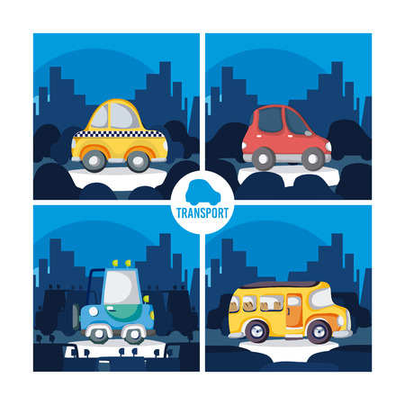 Set of cartoons vehicles vector illustration graphic design