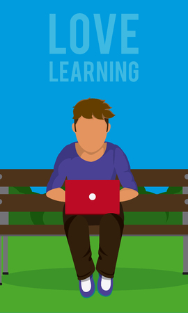 Young man studying at park vector illustration graphic design