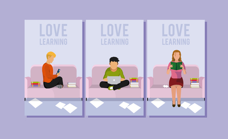 Young people reading and learning from home vector illustration graphic design