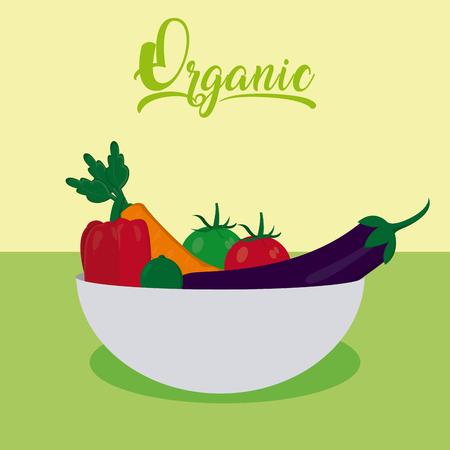 Organic vegetables cartoon vector illustration graphic design