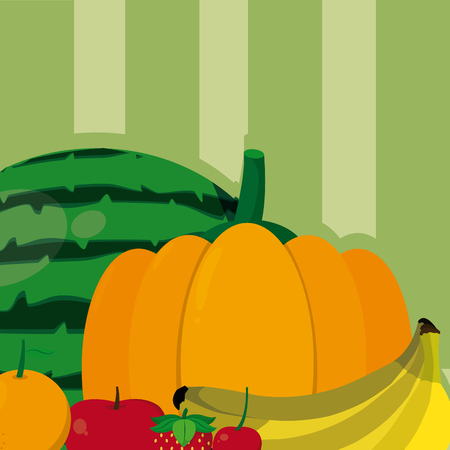 Delicious and organic fruits template vector illustration