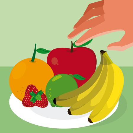 Hand grabbing fruits with apple, banana and strawberry Illustration