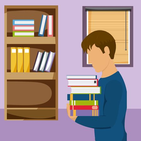 Young man studying with books Illustration