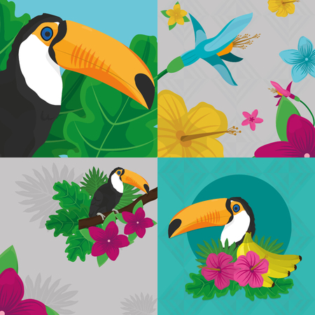 Tropic leaves flowers and toucan design Illustration