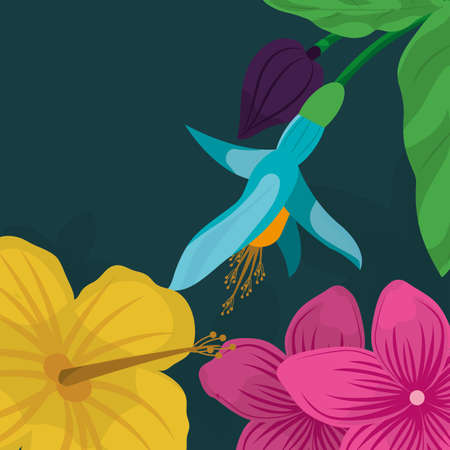 Tropic leaves and flowers design