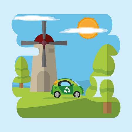 Green energy on nature with windmill and a car. Illustration