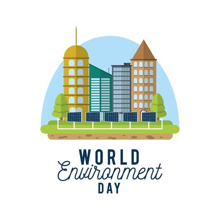 World environment day with buildings and solar panel. Illustration