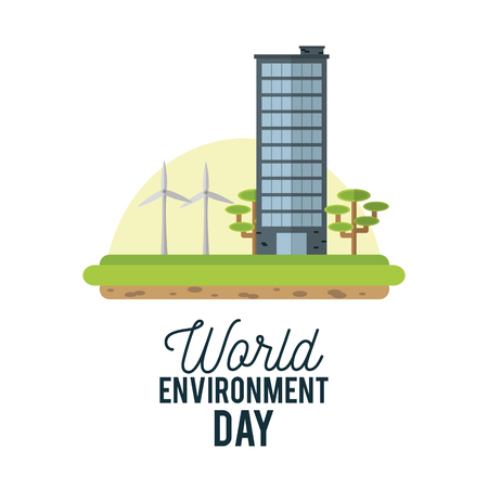 World environment day with wind turbines,  building and trees.