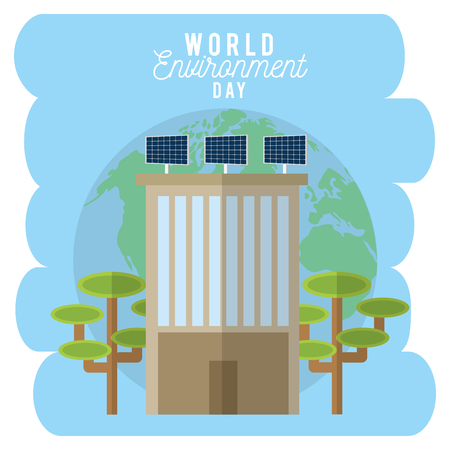 World environment day with building with solar panels and trees. Vector illustration.