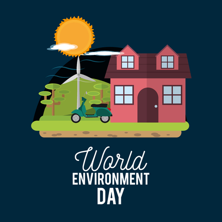 World environment day with house, trees, motorcycle and sun.