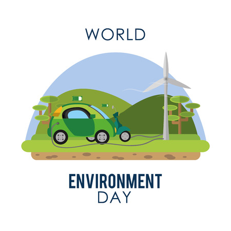 World environment day with electric car Illustration