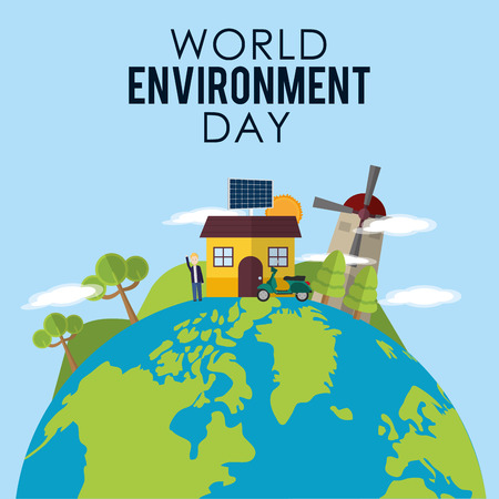 World environment day with windmill, house, trees and man on top. Illustration